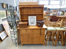 Pine sideboard with plate rack over