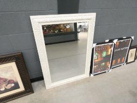 5029 White framed and bevelled rectangular mirror