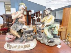 Two Capodimonte figures of gentlemen at work and rest