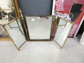 Brass framed folding dressing table mirror