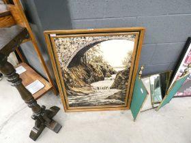 Gilt framed acrylic of riverside scene