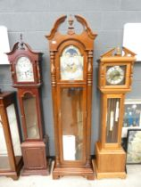 Modern Grandfather clock in dark wood, signed Sligh