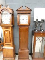 5005 Dark wood framed Grandfather clock signed EF Platts and sons