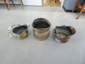 Three assorted coal buckets