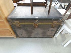 Metal banded travel trunk