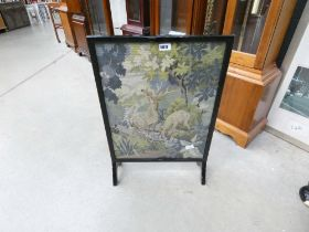 Embroidered firescreen of deer at stream