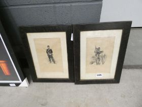 5030 Pair of black and white etchings of civil war soldiers