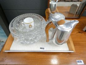 Part Picquot set of coffee pot, tea pot and tray plus some cut glass bowls