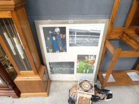 Framed and glazed poster of Manchester United legends