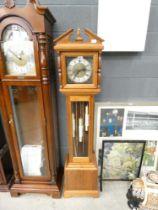 Modern pine framed Grandfather clock