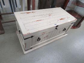 White painted pine blanket box