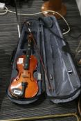 Practice violin with bow and hard case (zip damaged on case, bow unstrung)