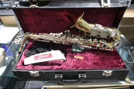 Corton saxophone by Amati with mouthpiece and fitted case
