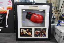 Presentation case David Haye signed boxing glove with CoA attached to back