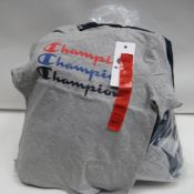 Bag containing approx 25 twin pack sets of children's t shirts in blue and grey by Champion