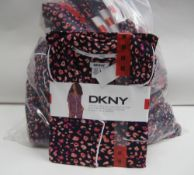 Bag containing approx 15 sets of ladies PJ's by DKNY with floral pink pattern