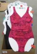 Box containing approx 50 ladies swimsuits by Kirkland sizes 8 - 14 in various colours