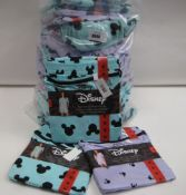 Bag containing Disney short PJ sets with pockets sizes M - L colours to inc. light green, turquoise,