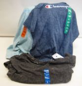 Bag containing approx 30 t shirts by Champion in light blue, dark blue and grey sizes L - XXL