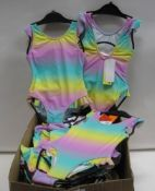 Box containing girls swimsuits in tie dye colours to inc. green, yellow and purple various sizes