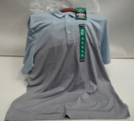 Bag containing approx 26 Kirkland grey and light blue polo shirts mainly XL