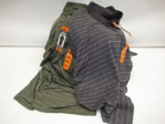 Bag containing approx 15 gents polo shirts by Glacier in green stripe and grey stripe sizes from L