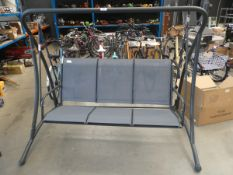 Grey metal garden swing with grey mesh seating