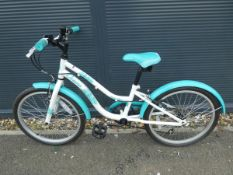 Childs bike in white and blue