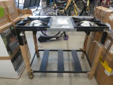 Twin gas burner barbecue table