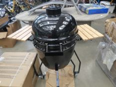 4114 - Egg shaped enamelled barbecue on trolley in black