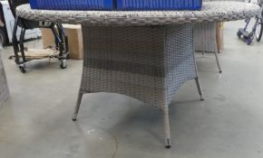 Plastic rattan circular garden table with matching supports