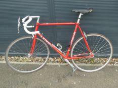 Ribble racing bike in red