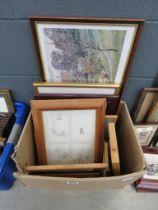Box of prints etc. including Winnie the Pooh