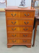 Reproduction yew chest of 5 drawers