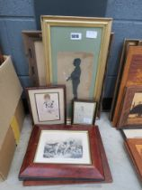 Victorian silhouette, fashion etching and 4 other prints