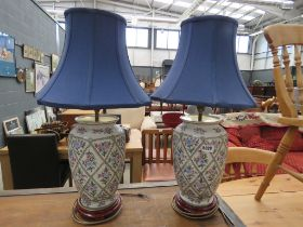 Pair of ceramic table lamps with blue shades