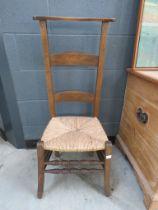 Beech and rush seated prayer chair
