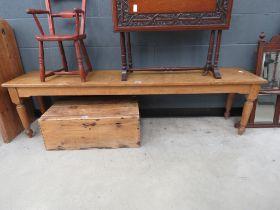 Long oak bench