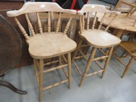 Pair of pine spindle back stools