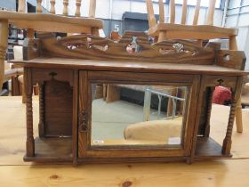 Arts and crafts style oak wall oak cabinet with a double sided mirror (with key)