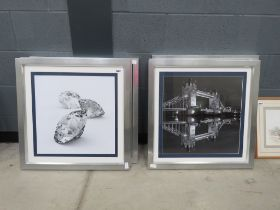 Six contemporary photographic prints depicting scenes of London and diamonds