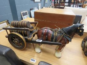 Model of a dray horse and cart