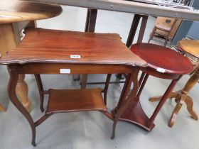 Edwardian mahogany occasional table together with a cherry wood circular table