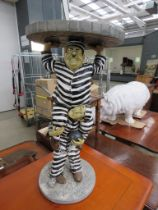 Reproduction table modelled as Laurel and Hardy in prison garb