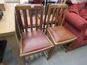 Set of 4 oak dining chairs with drop in seats
