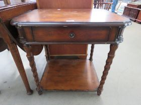 Reproduction side table with single drawer
