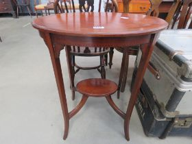 Edwardian mahogany marquetry oval occasion table