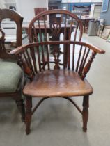 Elm and yew Windsor armchair with crinoline stretcher