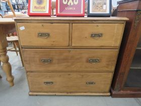 Striped pine chest of 2 over 2 drawers