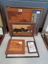 4 marquetry pictures, a copper map and 4 embroideries